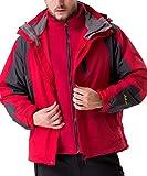 U.mslady極寒スキー 二重構造 ダブルジャケット アイスヒル登山ジャケット 帽子とアウトコート取り外し可能 多機能ジャケット 防水防寒 メンズC73214A-4XL-レッド
