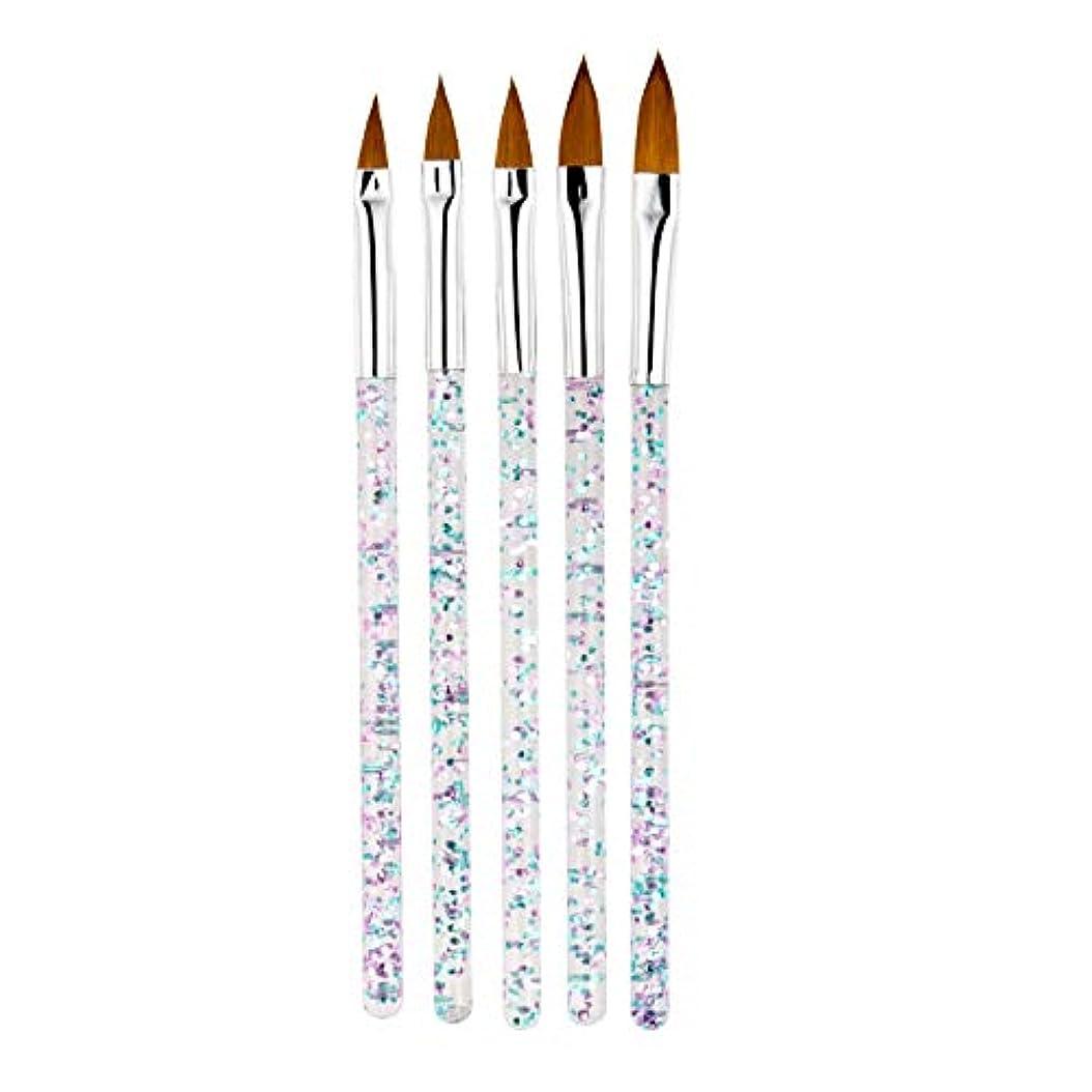 TOOGOO 5本/セット、11/13/15/17/19Mm ネイルアート水晶ブラシ、Uvジェルのビルダー、絵画用ドットペン、彫刻、先端、マニキュア、サロンのツール