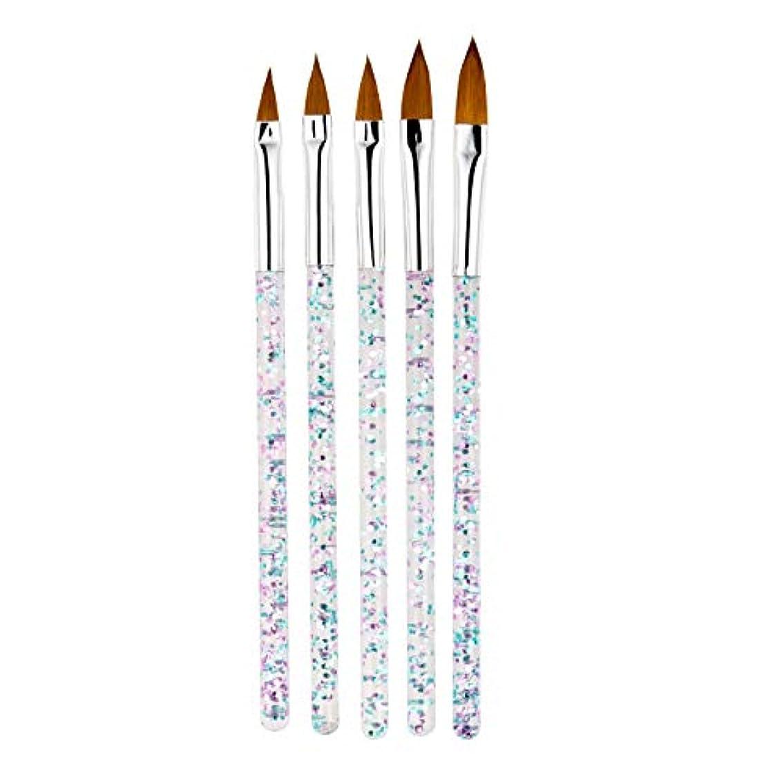 下線敏感な失CUHAWUDBA 5本/セット、11/13/15/17/19Mm ネイルアート水晶ブラシ、Uvジェルのビルダー、絵画用ドットペン、彫刻、先端、マニキュア、サロンのツール