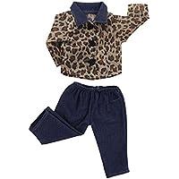monkeyjack Leopard Printedシャツダークブルーパンツフィット18インチアメリカンガールAG Dolls