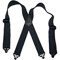 Hold-Ups 2 XL Airport Friendly Black X-back Suspenders for big and tall men with Jumbo black Patented composite plastic Gripper Clasps
