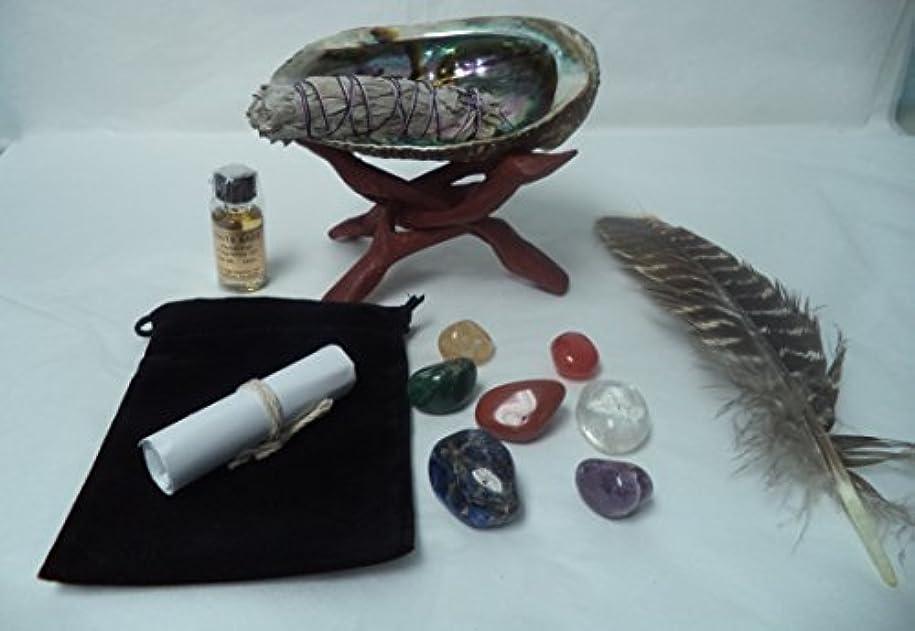 日イサカ衰えるデラックスSmudge & Gemstoneチャクラキット: 7 Crystal HealingストーンホワイトセージAbalone