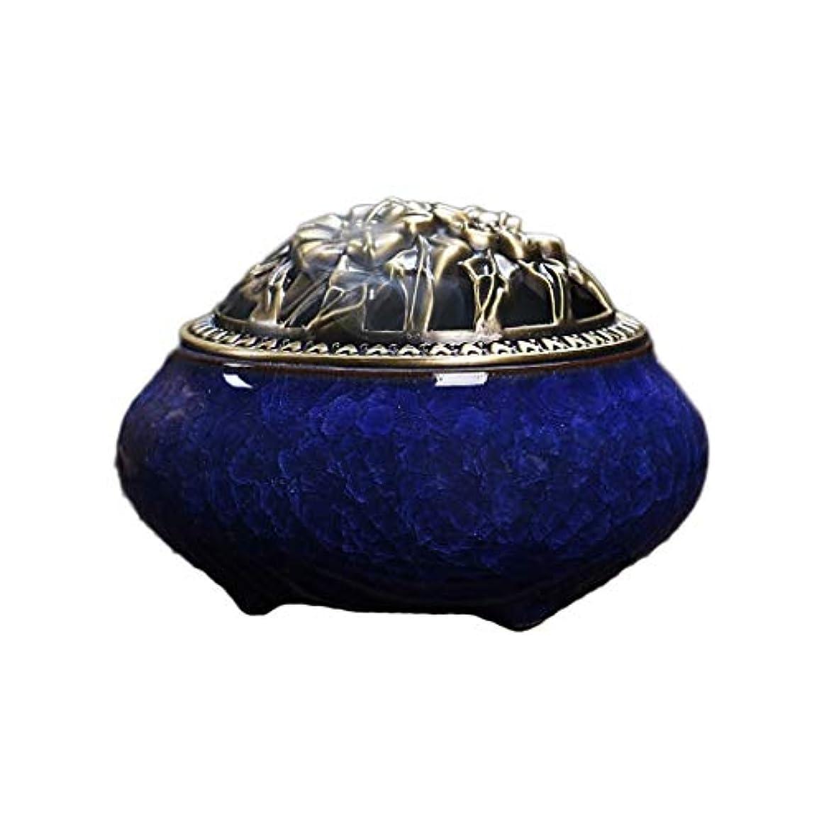 磁器セラミック香炉灰キャッチャー香スティック/コーン/コイルバーナーホルダーホームルーム仏教の装飾香ホルダー (Color : Blue)