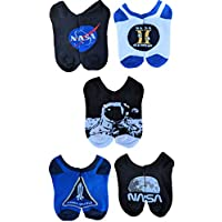 NASA Boys 5 Pack No Show, Assorted Dark, Fits Sock Size 6-8.5 Fits Shoe Size 7.5-3.5