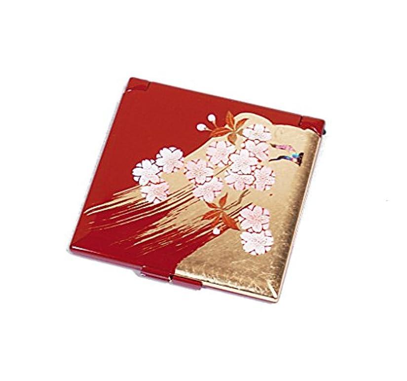 連帯フォーマルソーダ水箔一 ミラー 深紅 70×70×5mm 姫さくら ミニコンパクトミラー A105-02003