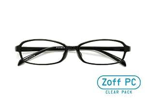 【Zoff PCクリアレンズ・パック】パソコン用メガネ PCメガネ オーソドックスなスクエア(度なし)(Shiny Black)