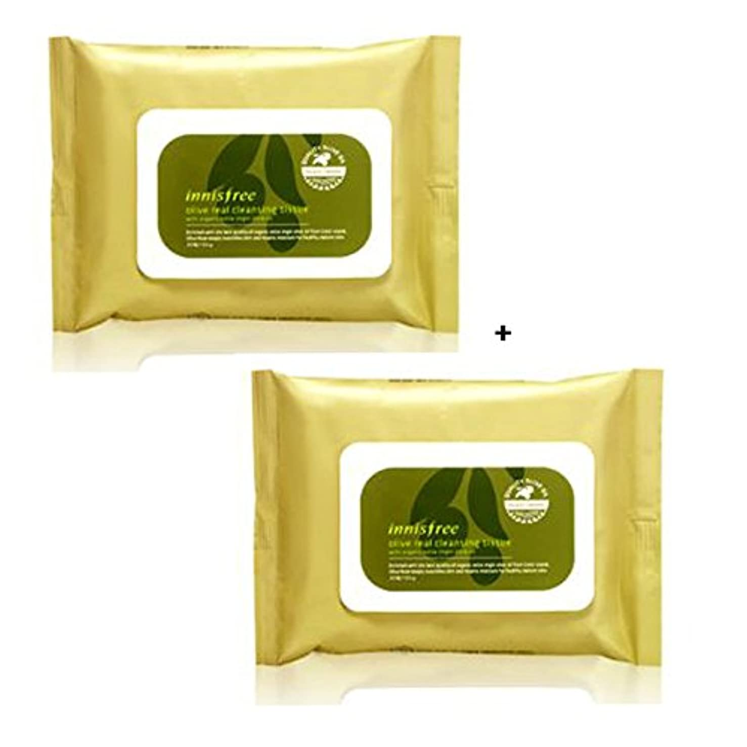イニスフリー Innisfree オリーブリアル クレンジングティッシュ (30枚x2) Innisfree Olive Real Cleansing Tissue (30sheetsx2Pcs) [海外直送品]