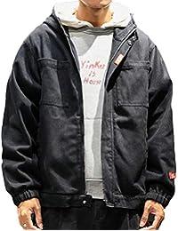 Keaac メンズプラスサイズファッションジップアップ胸ポケット付きフーディールーズジャケット