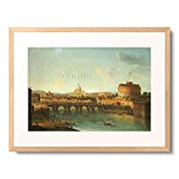 Joli, Antonio,1700-1777 「Castel Santangelo And The Ponte Santangelo, Rome, With St. Peters And The Vatican, S. Spirito In Sassia And The Janiculum Beyond, And Boats On The Tiber River.」 額装アート作品