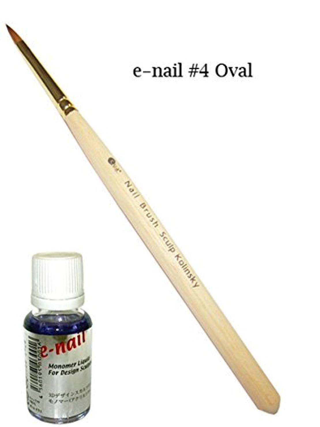 彼らのアトラスディーラーデザインスカルプセット(ブラシe-nail#4オーバル+専用モノマー)