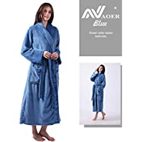 ALL AOER Womens Microfiber Plush Bathrobe, Shawl Collar Ladies Robe with Faux Rabbit Collar, Super Soft Spa Robe Cozy Lightweight Comfortable Absorbent and Durable by