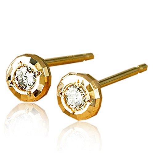 [해외]One &  Only Jewellery 감별 부 0.1ct K18YG 18K 옐로우 골드 천연 다이아몬드 미러 컷 귀걸이/One &  Only Jewelery 0.1ct K18YG 18K yellow gold natural diamond mirror cut earrings with identification