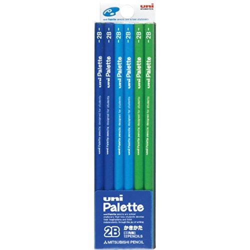 三菱鉛筆 かきかた鉛筆 ユニパレット 三角軸 2B 青 1ダース K48252B