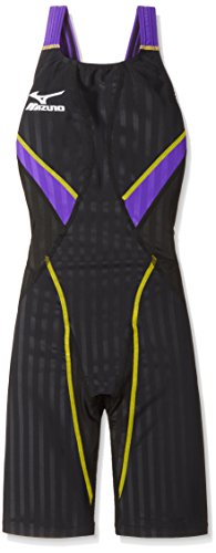 MIZUNO(ミズノ) 競泳水着 レディース ストリームアクセラ ハーフスーツ FINA承認 N2MG622397 サイズ:L ブラック×バイオレット