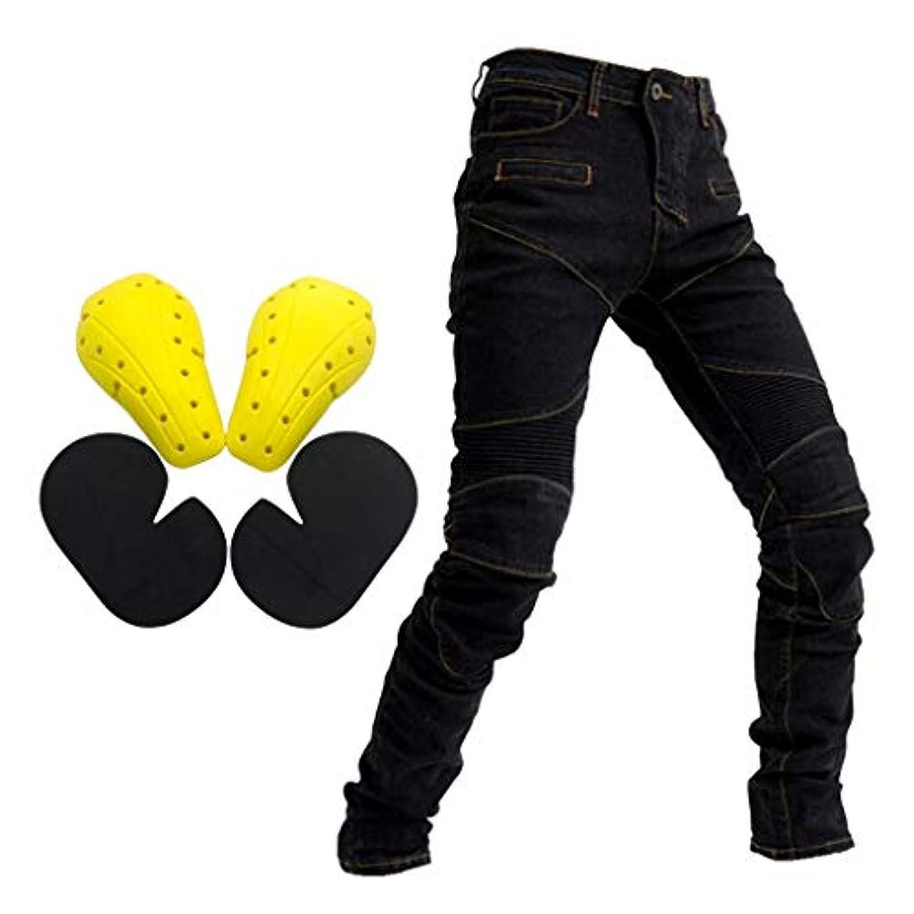 コンテストメーカー審判perfk オートバイ ライディングメンズジーンズ ブラック プロテクター付き ストレッチ素材 全6サイズ - XL