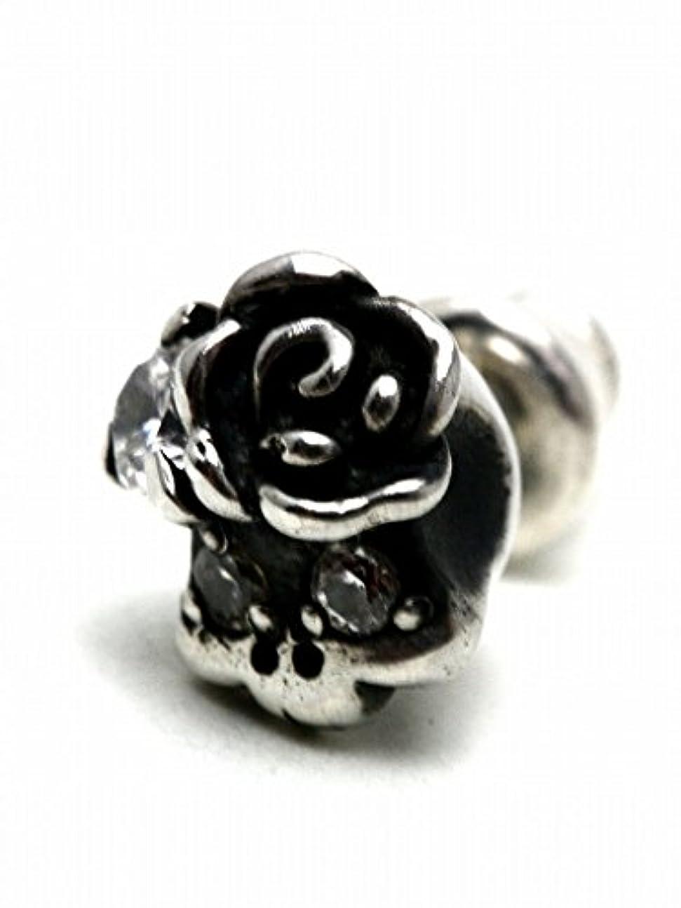 高いコーンウォール郵便【silver925 PLUS】ローズスカルピアス【シルバー925 ジルコニア 薔薇 バラ】piace182