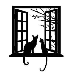 Takarafune ウォールステッカー 猫 壁紙シール 偽窓ステッカー 動物ステッカー 剥がせるウォールステッカー 43 * 52cm