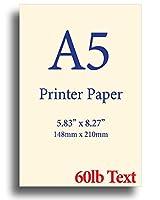 ナチュラルクリーム A5プリンター用紙 8.3インチ×5.83インチ 60ポンドテキスト(90gsm) 250 Sheets オフホワイト