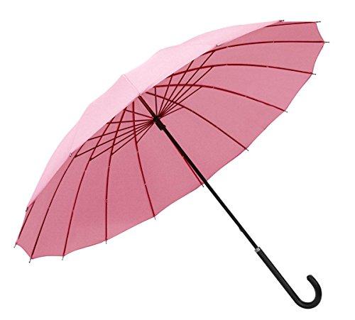 [レザー調ハンドル] 濡れると柄が浮き出る 16本骨長傘 「桜雫」 ピンク 50117