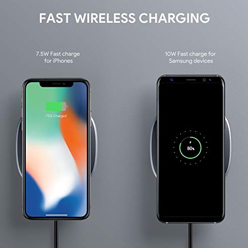 AUKEY ワイヤレス充電器 Qi 10W 無線チャージャー iPhone XS/XS Max/XR/X / 8 / 8 Plus、Samsung Galaxy S9 / S9+ / S8 / S8+ / S7、Nexus等 その他Qi対応機種 各種対応 LC-Q6