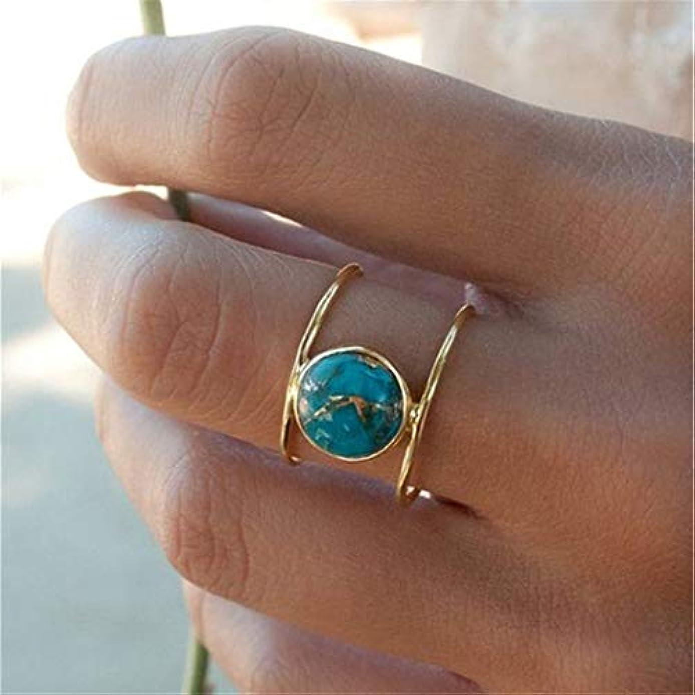 乙女したがって資産Sperrinsシンプル ターコイズ リング 金の指輪 (7)