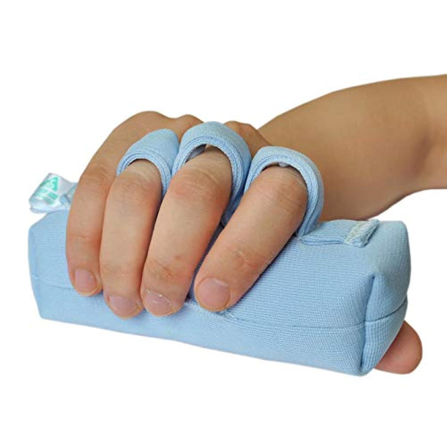 鼓舞するに対応トリッキー右手または左手の手のひらプロテクター、手の包帯のサポート/術後のリハビリテーション/指の挫傷パッド/手のひらの指の分割バー/高齢者介護/涙防止ハンドスティック