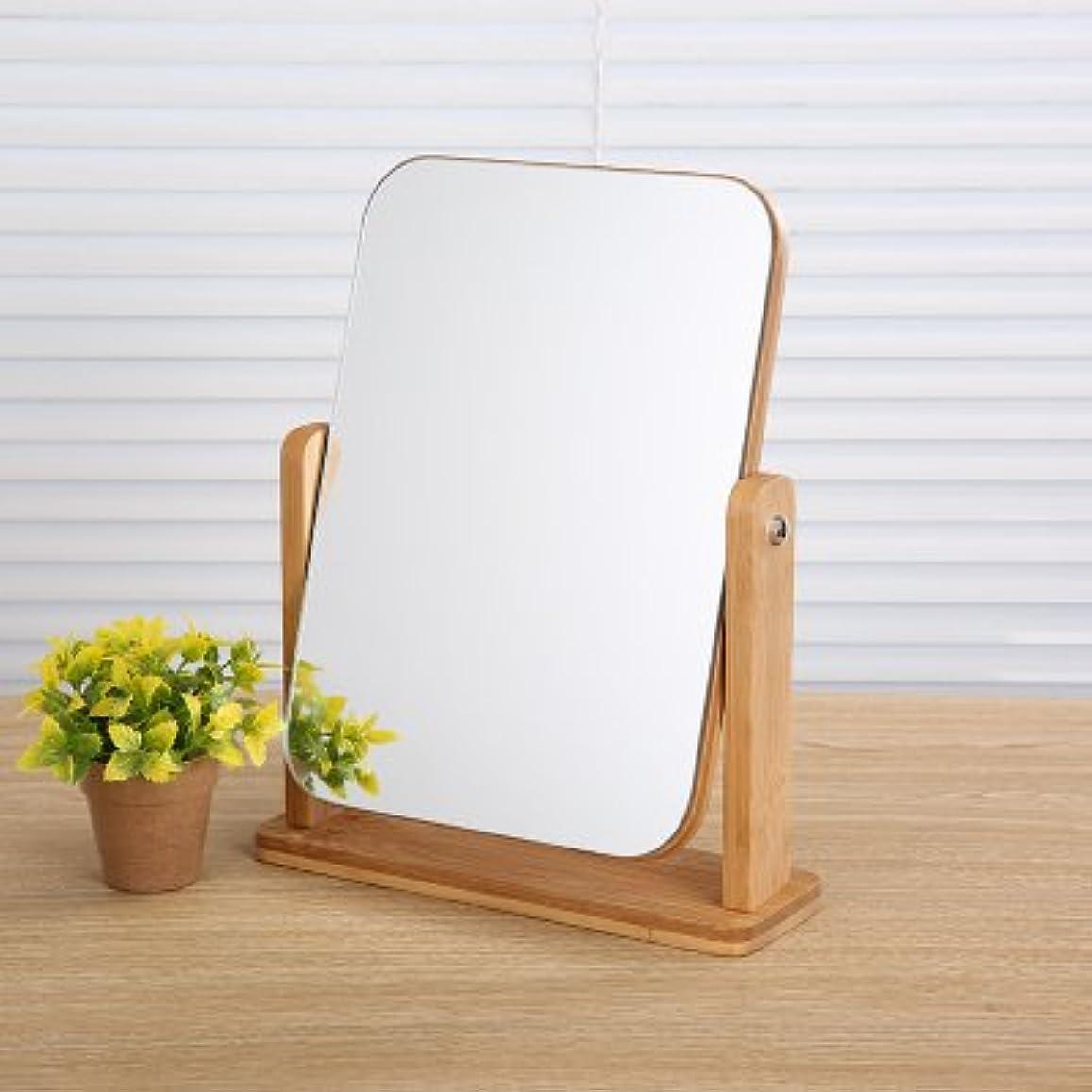 角度調節可能 木枠 コンパクト メイクミラー 卓上ミラー 化粧鏡