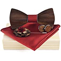 Demana Fashion Men's Wooden Bow Tie Classic Simple Handmade Wedding Party Wooden Bow Tie
