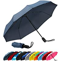 Repel Windproof Travel Umbrella with Teflon Coating (Navy Blue)