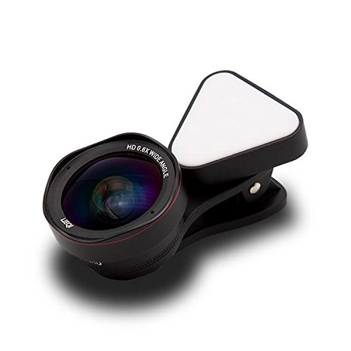 LIEQI LQ-035II 広角レンズ iphone スマホ レンズ セルカレンズ 自撮りライト 0.4x 広角レンズ 15x マクロレンズ 全機種対応 自撮り棒不要 iPhone Android タブレット (ブラック)