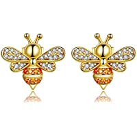SODIAL Bee Stud Earrings for Women Fashion Crystal Ear Studs 925 Sterling Silver Jewelry for Girl Gold