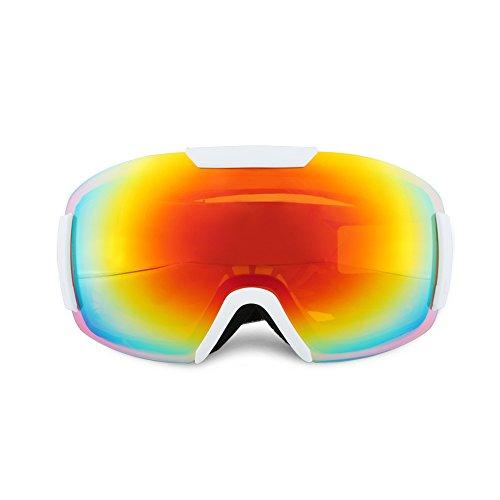 スキーゴーグル スノボゴーグル ダブル球面レンズ UV400紫外線カット 軽量 メガネ対応 曇り止め すべり止め ヘルメット対応 3層スポンジ スノーボード スキー・登山・アウトドア 男女兼用 子供 大人155-187 (ホワイト)