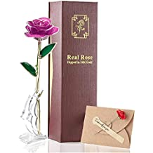 24K Gold Real Rose Long Stem Real Fresh Rose Dipped Plated Never Fade Best Romantic Gift for Valentine's Day, Mother's Day,Anniversaries and Any Love Moments of Life. (purle)