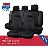 West Coast Auto Premium Quilted Stitched Leather - Universal Car Seat Cover, Airbag Compatible, High Quality (Fits Most Car, Truck, Suv or Van) (Black)