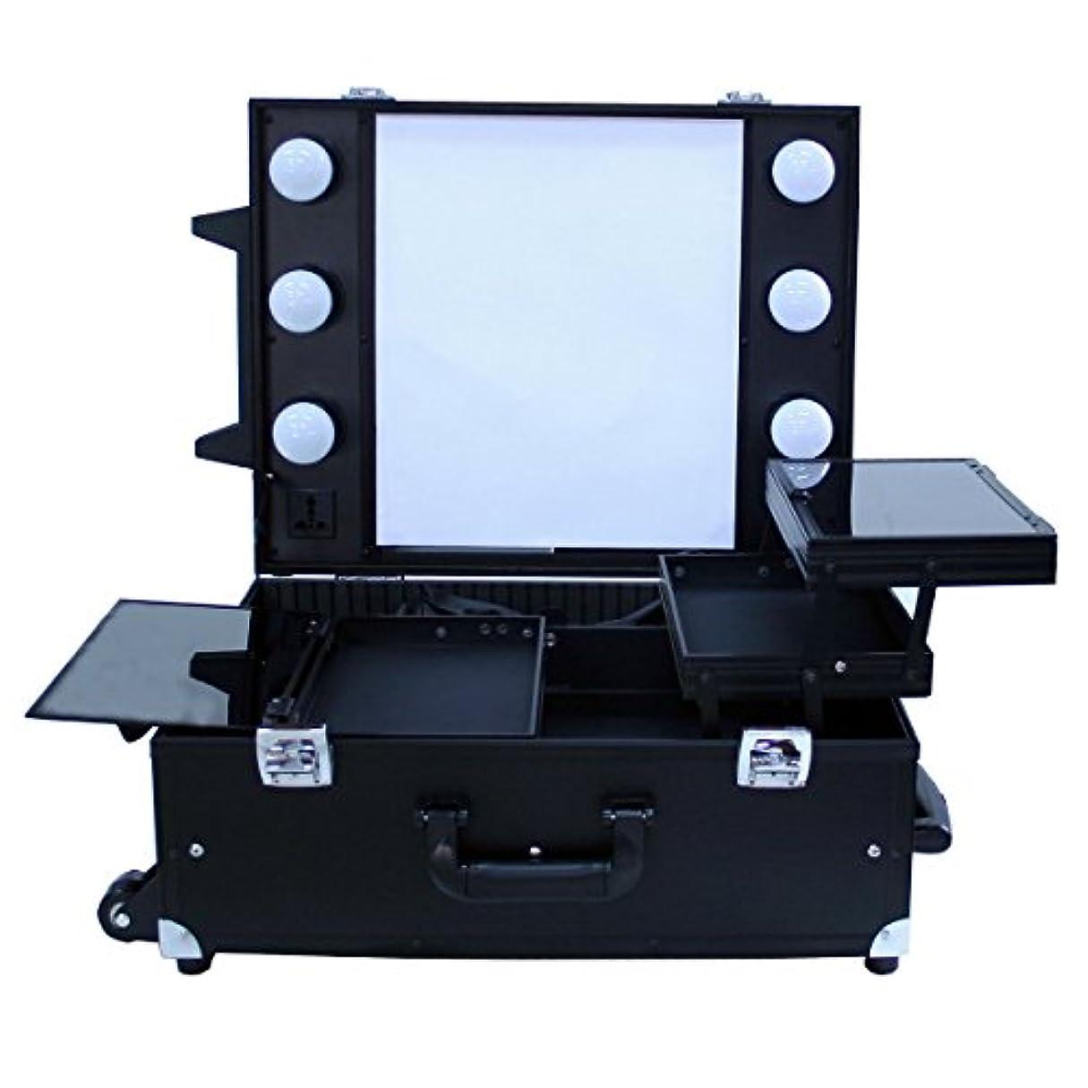 召喚する症候群ますますプロ用卓上式メイクステーション DB9552K コスメボックス メイク用品の収納に Desktop Make station (ブラック)