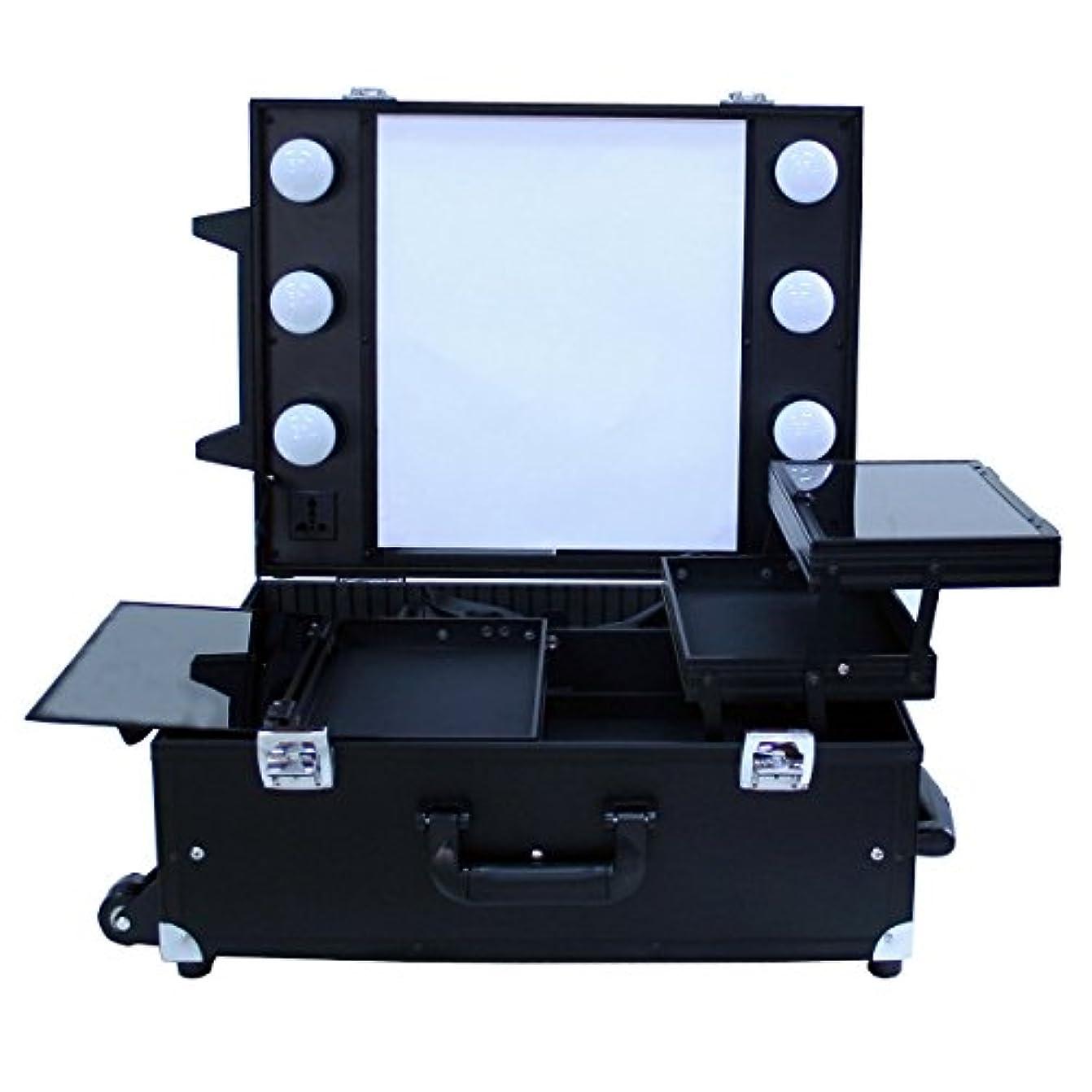 可愛いサーキットに行く奴隷プロ用卓上式メイクステーション|DB9552K|コスメボックス|メイク用品の収納に|Desktop Make station (ブラック)
