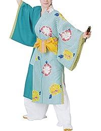 【よさこい衣装?袢纏?法被】おどり袢天 青/白 縞/花柄 B8510