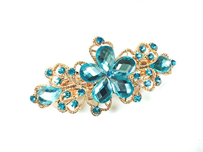 Dana Basics Crystals Blue Butterfly Bang Headdress Barrette Rhinestones Moon Hair Clip by Dana Basics