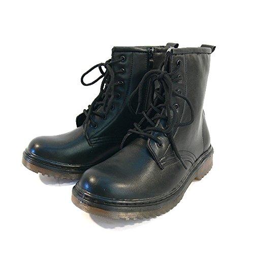 ブラックSサイズ (全2色) S(22cm)~LL(25.5cm) 編み上げ レースアップ ミドルブーツ サイドジッパー エンジニアブーツ コスプレ ロリータ 厚底ブーツ オデコブーツ