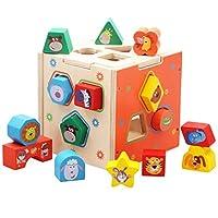 [テンカ]パズルボックス 木製 積み木 多機能 幾何認知 知育玩具 立体パズル 図形認知 動物 早期開発 赤ちゃん 子供用 幼児用 男の子 女の子 おもちゃ ドロップインザボックス 誕生日 プレゼント