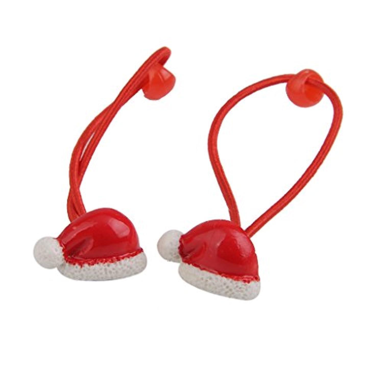 SONONIA ププラスチック 女の子 クリスマス サンタ帽子 ヘアゴム バンド ヘアバンド 髪飾り 2個