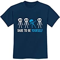 Autism Awareness Dare To Be Yourself Dabbing Skeleton Youth Kids T-Shirt