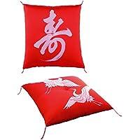 鶴寿座布団赤 長寿御祝い 還暦座布団 65×68cm 緞子判 還暦 古希 喜寿 米寿 傘寿 卒寿 88歳