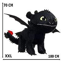 GUIZMAX巨大で豪華な歯のない70/100 cmドラゴン3ブラック
