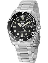 セイコーMen 's snzf17セイコー5自動ブラックダイヤルステンレススチールブレスレット腕時計