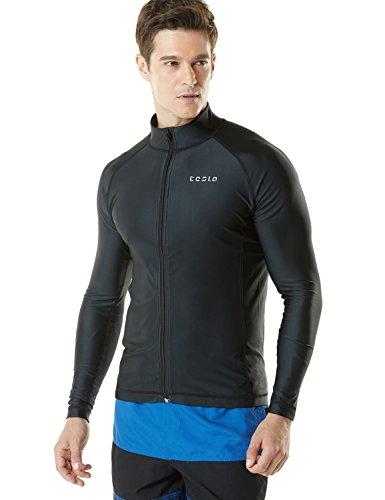 TESLA Men's UPF 50+ Zip Swim Front Long Sleeve Top Rashguard MSZ03-BLK