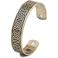 Health care Magnetic bracelet power fitness Mens Cuff Bangle engraved knot Viking Bangles ethnic bracelet personalized jewelry (Antique gold)