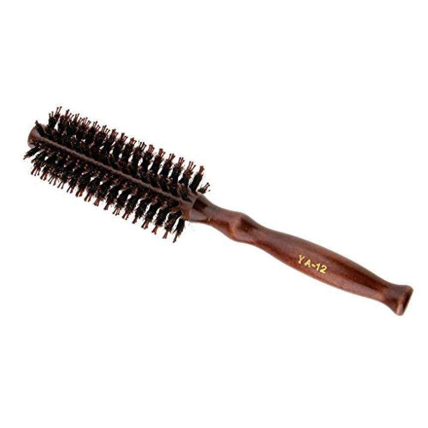 火山ファンシーエンジニアリングラウンドウッドのハンドルヘアブラシの理髪美容カールヘアブラシのブラシ - #2