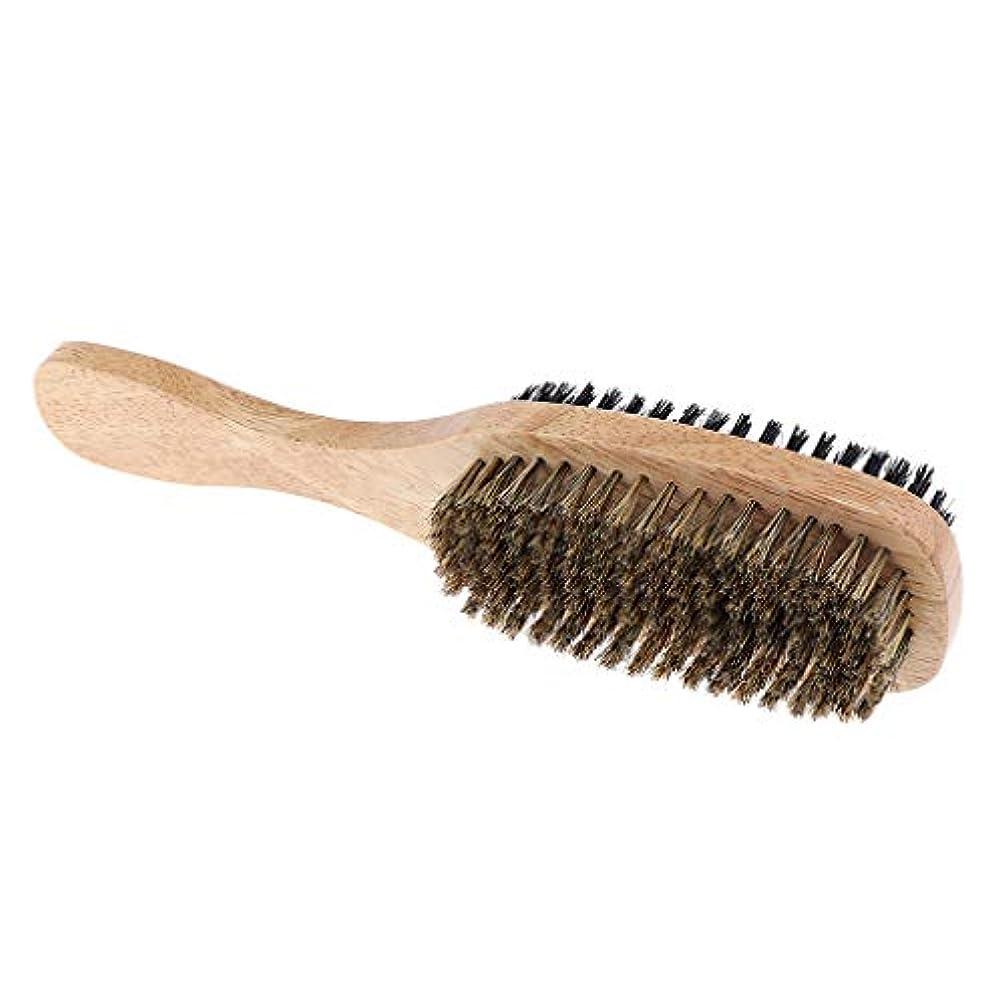 旅解明する瞳ヘアブラシ メンズ 髭剃り ヒゲ 両面ブラシ 木製ハンドル 3サイズ選べ - A