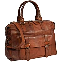 Holdall Travel Duffle Real Leather Cabin Size Bag Lightweight HOL7799 Tan 0779d10f0ce7c